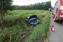 Havárie osobního automobilu v Ještětitích.