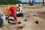 Z archeologického výzkumu na trase obchvatu Domašína. Foto: Deník/Jana Kotalová