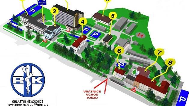 Lůžková část ortopedie a chirurgie se v oblastní nemocnici Rychnov nad Kněžnou nachází v budově z 30. let minulého století. Na plánu nemocnice je označena číslem 8.