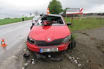 Havárie osobního automobilu u Bílého Újezdu.
