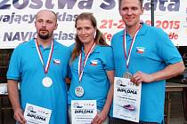 STŘÍBRNÉ TRIO ze světového šampionátu modelářů. Zleva: Lukáš Linhart,  Zdeňka Dostálová a Jan Sršeň.