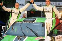 VÍTĚZNÁ POSÁDKA třiačtyřicátého ročníku Rallye Český Krumlov Jan Kopecký a Pavel Dresler (vlevo).