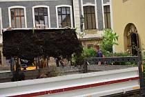 Díky šestici dobrovolníků dalšího ročníku křesťanského projektu SummerJob, začali stavební práce na přístupovou cestu k bývalé kapli, jejíž stěny zdobí zhruba 700 let staré vyobrazení Posledního soudu. Foto: Deník/Jiří Řezník