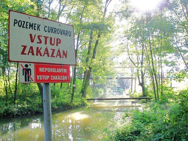 Řeka Dědina v Českém Meziříčí, do které uniklo smrtící vápenné mléko.