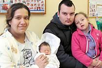 VLASTIČKA MOLNÁROVÁ: Manželé Vlasta a Richard Molnárovi z Borohrádku mají radost z dcery. Narodila se 31. prosince ve 13.52 hodin s váhou 3,5 kg a délkou 51 cm. Na sestřičku se těšila pětiletá Adrianka.