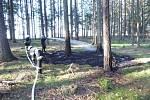 V ohnišovském lese hořelo jehličí.