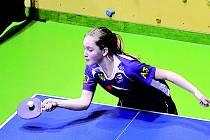 Talentovaná doberská stolní tenistka Pavla Bačinová na mistrovství České republiky v Jaroměři.