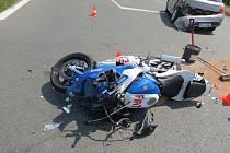 Nehoda s motorkářem se stala také v Dobrušce.