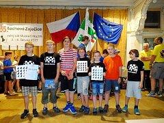 Družstvo Pandy na turnaji v Zaječicích (zleva): Marek Nosál, Pavel Kačírek, Václav Till, Patrik Dostálek, Pavel Kumpošt, Jaroslav Bílek a Elen Hetfleischová.