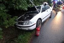 Havárie osobního automobilu v Záměli.