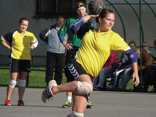 Deset branek vstřelila v předehrávaném utkání 16. kola v Hlinsku dobrušská házenkářka Petra Laštovičková.