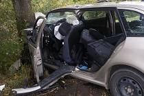 Řidič z neznámých příčin vyjel do protismětu a narazil do stromu.
