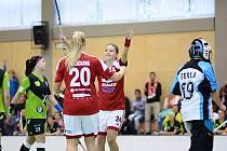 Dobrušské hráčky Jitka Růžičková (č. 20) a Kateřina Poláčková (č. 24) oslavují jeden ze sedmi gólů svého týmu.