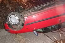 Havárie osobního automobilu v Rychnově nad Kněžnou.