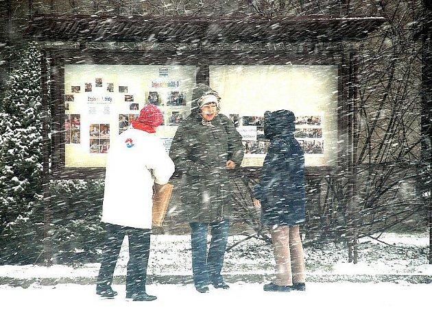 """Rychnovskem se v úterý 10. února přehnala vánice, nastala """"bílá tma"""". Chvílemi nebylo vidět na krok. Vítr vytvářel na silnicích sněhové jazyky."""