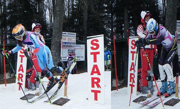 Lucie Rydlová (vlevo) a Kryštof Preininger se vydávají do slalomových branek