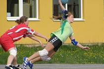 ČTRNÁCT BRANEK vstřelila do sítě Modřan dobrušská házenkářka Andrea Henclová (na snímku vpravo).