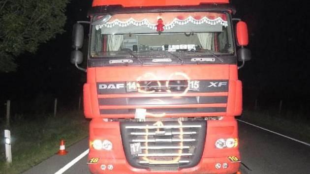 Kamion po osudné nehodě.