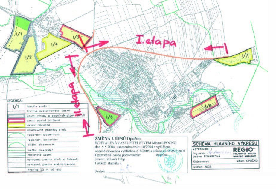 Na nákresu je vidět plánovaná trasa obchvatu Opočna. V roce 2006 měla být cena obchvatu vyčíslena na 450 milionů korun. Stavět by se mohl ve dvou částech. Levnější by prý přišla na 150 milionů.