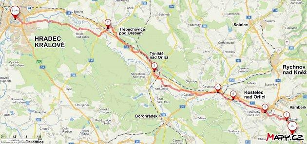 Mapa cyklotrasy.