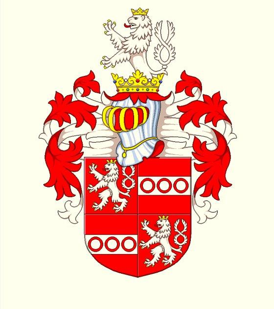 Polepšený erb zroku 1636, okterý si zažádala Magdalena Grambová po smrti prvního manžela Kašpara zGrambu.