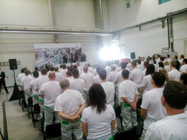 Miloš Zeman při besedě se zaměstnanci Škoda Auto.
