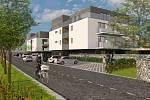 Vizualizace plánovaných bytových domů v Dobrušce Mírová II.