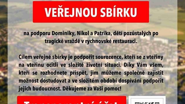 Město Rychnov nad Kněžnou vyhlásilo veřejnou sbírku na podporu pozůstalých dětí po tragické vraždě v rychnovské restauraci.