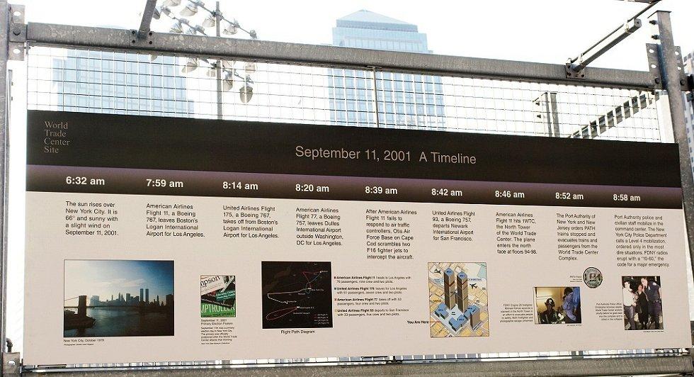 New York - Časová osa teroristického útoku na Světové obchodní centrum (WTC)