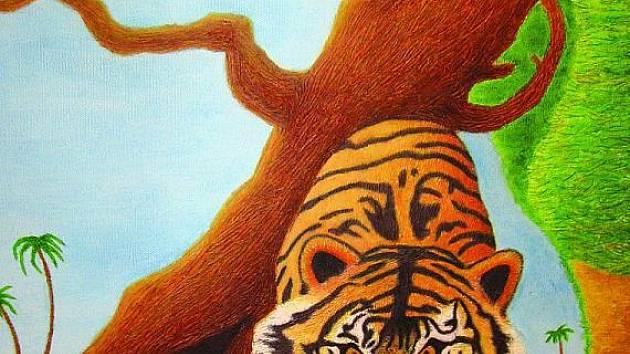 Obraz tygříka, který pro děti namalovala  Marie Ungrádová.