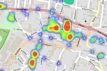 Kostelečtí městští strážníci používají teplotní mapu.