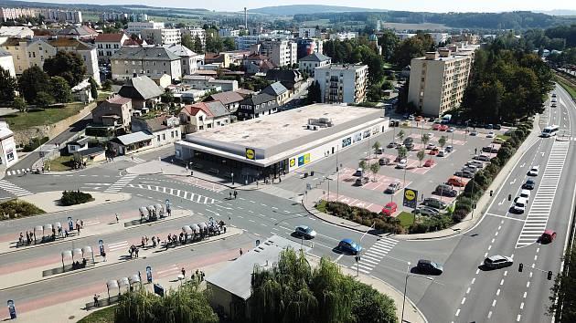 Vizualizace nové prodejny Lidl u bývalého autobusového nádraží v Rychnově nad Kněžnou.