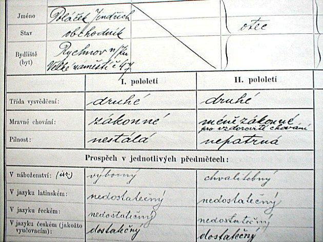 Karel Poláček - vysvědčení.