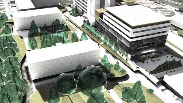 Vizualizace budoucí podoby části areálu rychnovské nemocnice.