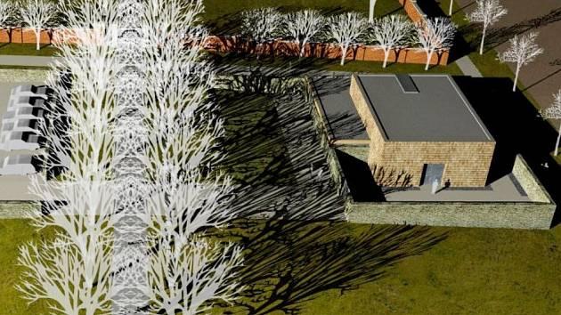 V ARCHITEKTONICKÉ SOUTĚŽI na dobrušskou smuteční síň zvítězil projekt královéhradeckého ateliéru architektury Šuda – Horský. Nový objekt bude stát  před vchodem na městský hřbitov.