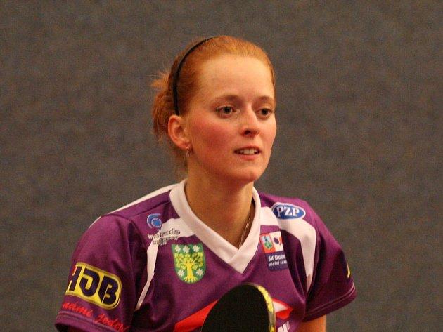 Nová tvář. Poprvé se doberskému publiku při extraligových zápasech představila posila Aneta Martinková.