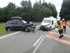 Dopravní nehoda dvou osobních automobilů u Rybné nad Zdobnicí.