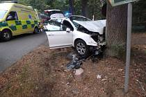 Dopravní nehoda dvou osobních automobilů poblíž Albrechtic nad Orlicí.
