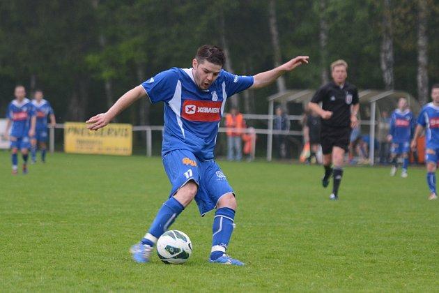 STŘELEC. Týnišťský záložník Martin Novák přispěl k výhře svého týmu v derby s Dobruškou dvěma góly.