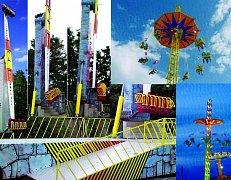 Novinkou Dobrušské pouti bude ohromná vrtule Booster Maxximum (vlevo) a pětatřicet metrů vysoký řetízkový kolotoč (vpravo)