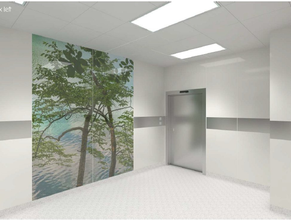 Vizualizace nových zrekonstruovaných prostor porodnického boxu.