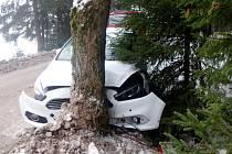 Havárie osobního automobilu v Říčkách v Orlických horách..
