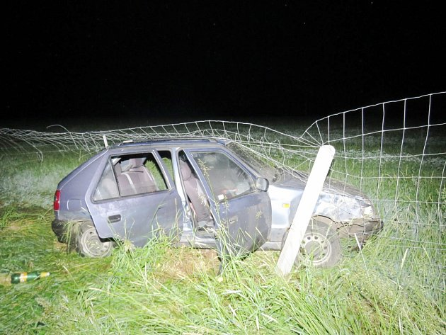 Řidič felicie vyjel ze silnice a narazil do plotu obory.
