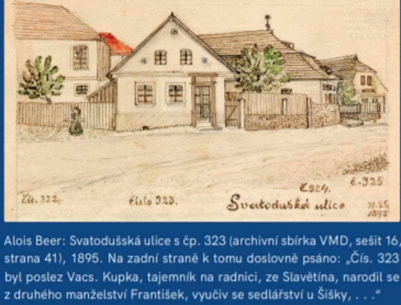 Dům, v němž vyrůstal František Kupka, na kresbě Aloise Beera.