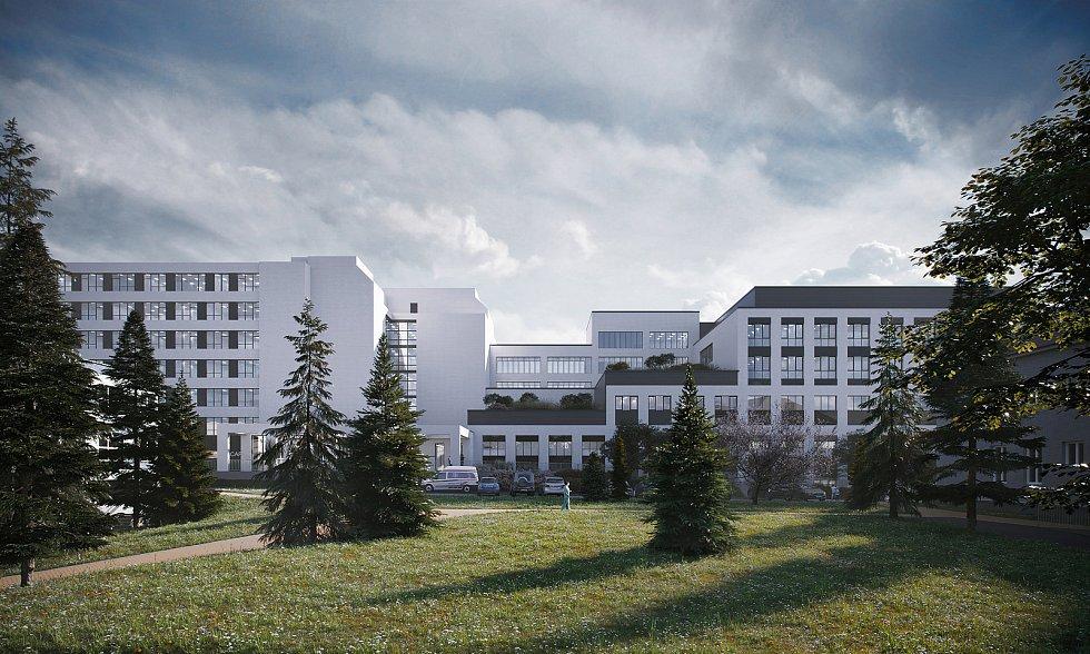Vizualizace přístavby v areálu rychnovské nemocnice - pavilon urgentní péče. Zdroj: KÚ Královéhradeckého kraje