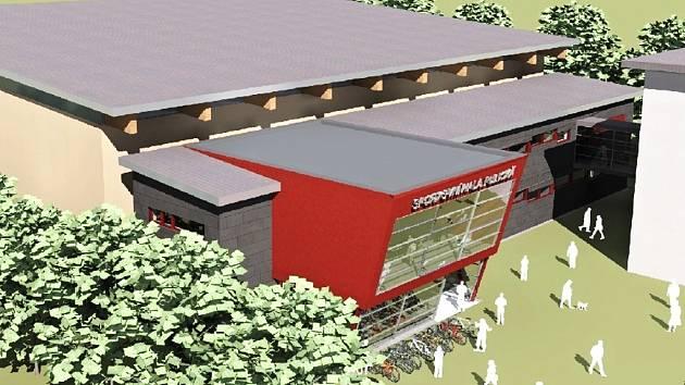 Vizualizace nové sportovní haly u základní školy a gymnázia v Dobrušce.