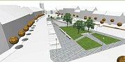 Vizualizace budoucí podoby náměstí v Týništi nad Orlicí.