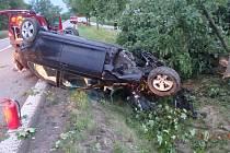 Auto se přetočilo na střechu a povalilo strom.