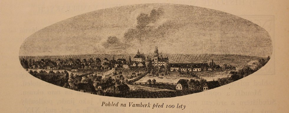 Pohled na Vamberk v první polovině 19. století. Historické snímky z Pamětí města Vamberka z roku 1927