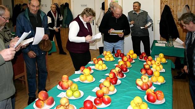 Degustování jablek pořádané zahrádkáři.